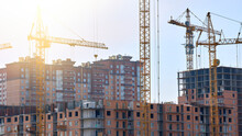 General View Of The Construction Of A New Residential Complex.