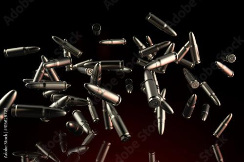 Billede på lærred 3d render illustration of metal bullets flying on dark background