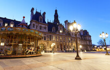 City Hall In Paris At Night - Building Housing City Of Paris Administration. France