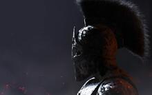 3d Render Illustration Of Stone Spartan Warrior In Helmet Statue On Dark Background.