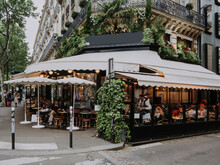 Boulevard San-German With Tables Of Cafe In Paris, France. Architecture And Landmarks Of Paris. Postcard Of Paris