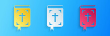 Paper Cut Bible Book Icon Isolated On Blue Background. Holy Bible Book Sign. Paper Art Style. Vector.