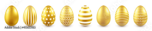 Fotografie, Tablou Golden Easter eggs isolated on white background