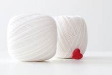 White Crochet Yarn With Red Hearts