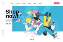 Discounts, Sale, Promotion, Web Template - Modern Flat Vector Concept Illustration Of People Crowd Running In The Pursuit Of The Discounts, With A Big Percent Sign On The Background. Shop Now