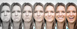 Woman emotions range from extremely sad to extremely happy. Sad and happy woman face. Young lady expressing different emotions. Mood disorders, bipolar disorder. Emotional contrast