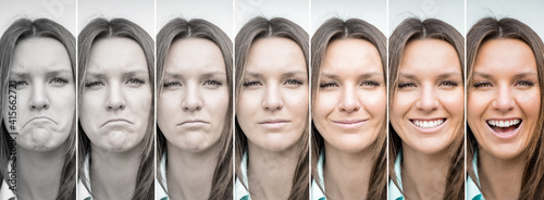 Obraz na plátně Woman emotions range from extremely sad to extremely happy
