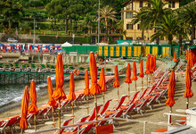 Rows Of Orange Beach Chairs And Umbrellas In Rapallo, Italy