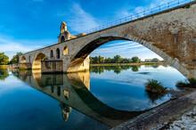 The Other Side Of The St. Benezet Bridge In Avignon, France