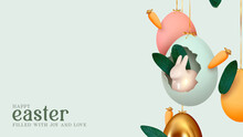 Happy Easter Day. Festive Background Design With Realistic Colorful Eggs, Easter Bunny, Rabbit In An Egg Hanging On Ribbon. Creative Holiday Composition. Banner And Poster. Brochure And Flyer