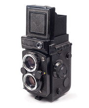 Old Medium Format 6x6 Camera On A White Background.