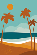 Creative Aesthetic Posters Abstract Background With Palm Trees, Beach And Sea, Ocean. Vertical Vector Illustration With Landscape Minimalistic Backgrounds With Grunge Texture.