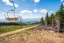 An Empty Ski Lift Not Operating During Summer At The Mt Spokane State Park Ski Resort Overlooking The Spokane, Washington Area, USA