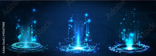 Fotografia Fantastic Circle portals, holograms teleport gadgets