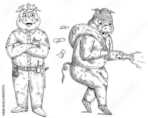 Pig with paws crossed dressed in police uniform Fototapeta