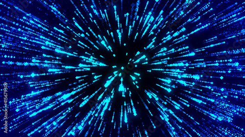 Abstract circular speed background. Centric motion of star trails. Starburst dynamic lines or rays. 3D rendering.