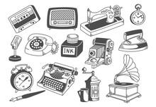 Vintage Equipment Collection Line Art Vector Illustration