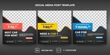Set Of Editable Promotion Banner Template. Modern Social Media Car Rental Set Design. Flat Design Vector Illustration With A Photo Collage. Usable For Social Media, Flyers, And Web Internet Ads.