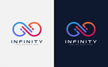 Modern Infinity Sign Logo Design. Abstract Infinity Symbol Made From Colorful Geometric Lines. Usable For Business Brand And Tech Company. Vector Logo Illustration.