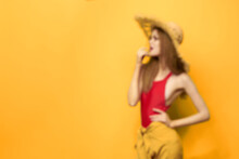 Woman In Straw Hat Bright Makeup Summer Lifestyle Fun Yellow Background