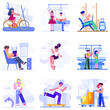 Flat characters in different activity vector illustrations. cycling, reading, running, traveling, sitting, playing.