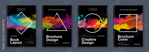 Fototapeta Watercolor A4 booklet colourful cover bundle set with geometric shapes on black background obraz