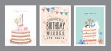 Set Of Happy Birthday Greeting Card