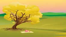 Digital Artwork, Drawing Of A Woman, Lady Performing Yoga In An Outdoor, Country, Rural, Relaxing Scene With Yellow, Fall, Autumn Tree And Landscape, Pink Sunset In The Background.