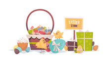 Cute Chicks With Decorated Eggs Basket And Gifts Happy Easter Spring Holiday Composition Greeting Card Poster Horizontal Vector Illustration
