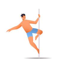 Male Dancer In Sportswear Pole Dance Man Doing Dancing Exercises On Pilon Isolated Full Length Vector Illustration