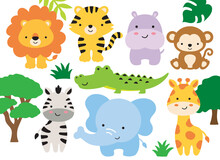 Vector Illustration Of Safari Jungle Animals Including A Lion, Tiger, Hippo, Monkey, Zebra, Crocodile, Alligator, Elephant, And Giraffe.