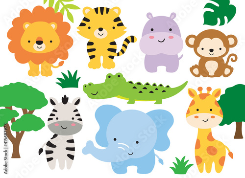 Fototapeta premium Vector illustration of safari jungle animals including a lion, tiger, hippo, monkey, zebra, crocodile, alligator, elephant, and giraffe.
