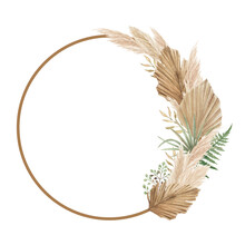 Aesthetic Floral Frame With Dried Palm Leaves, Pampas Grass And Fern
