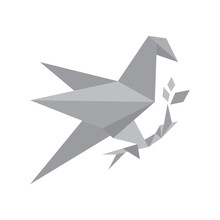 Modern Grey Origami Bird Logo Vector Design Vector Illustration