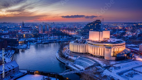 Fotografie, Obraz Stunning sunset over Opera Nova in winer Bydgoszcz, Poland