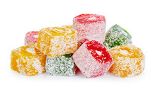 Bunch Of Colorful Turkish Delight Sweets Isolated On White