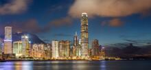 Victoria Harbor View At Night From Wanchai, Hong Kong