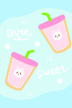 Hand Drawn Cartoon Cute Rabbit Drink Cup Strip Rug