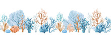 Beautiful Seamless Horizontal Underwater Pattern With Watercolor Sea Life Colorful Corals. Stock Illustration.