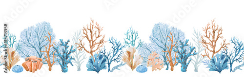 Fotografia Beautiful seamless horizontal underwater pattern with watercolor sea life colorful corals