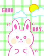 Hand-painted Cartoon Plaid Little White Rabbit Small Fresh Tapestry