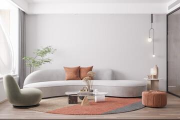 Interior Living Room Wall Mockup - 3d Rendering, 3d Illustration