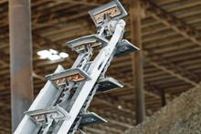 Empty Industrial Conveyor Belt In A Workshop
