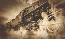 Old Locomotive With Steam.