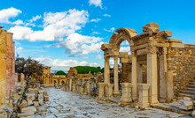 Remains Of Antique Temple Dedicated To Emperor Hadrian In Ephesus, Izmir Province, Turkey