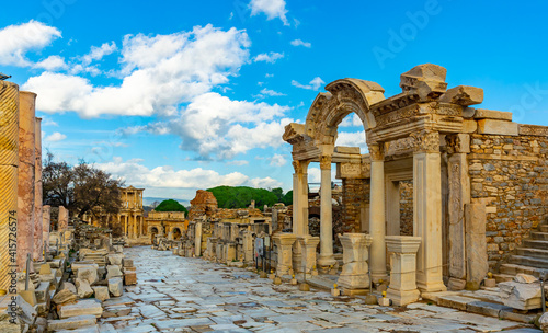 Fotografie, Tablou Remains of antique temple dedicated to Emperor Hadrian in Ephesus, Izmir provinc
