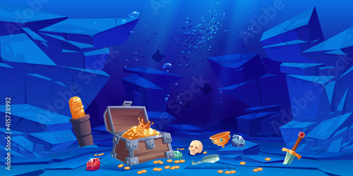 Obraz Treasure on sea bottom, chest with golden coins and crown, crystal gems, sword, gold idol and goblet with precious rocks, ancient pirate or fantasy sunken wealth in ocean, Cartoon vector illustration - fototapety do salonu