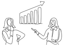 Continuous One Single Line Drawing Of Two Businesswoman Giving Presentation About Increasing Product Sales To His Team With The Graph. Smart Strategy And Big Idea Concept. Vector Illustration