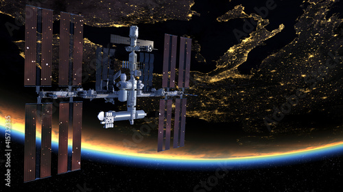 The International Space Station in orbit around Earth.Elements of this image furnished by NASA. © Mike Mareen