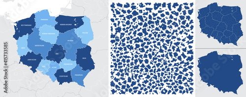 Fototapeta Detailed, vector, blue map of Poland with administrative divisions into regions country obraz